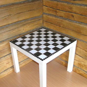 Side table black white coffee table glass mosaic angular squares contemporary art modern livingroom chess table