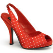 Pinup Couture Red Satin Polka Dot Slingback Pumps
