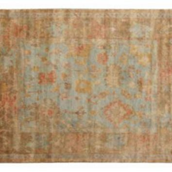 Turkish Oushak Rug, Blue/Red, Area Rugs