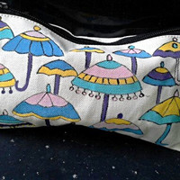 Handpainted Canvass Pouch, Zipper Purse,Colorful Umbrella Design In Indian Madhubani Art Style