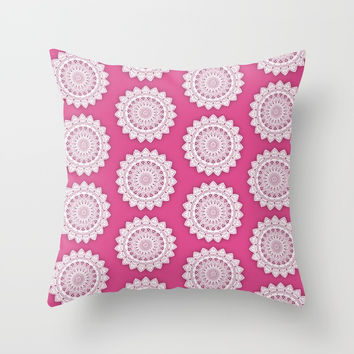 MINIMALIST MANDALA COLLAGE IV (DEEP HOT PINK MAROON) Throw Pillow by AEJ Design