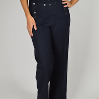 WWII Sailor Pants, 40s Vintage Navy Pants, Lace Backside, High Waist, Cracker Jack, Palazzo Pants, Unisex pants, Pin Up Pants,