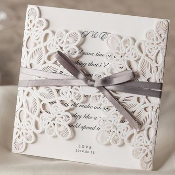 25pcs White Wedding Invitations Card Laser Cut Wedding Invitations with Envelope Ribbon Invitation Cards wedding decoration