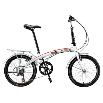 "Xspec 20"" 7 Speed City Folding Compact Bike Bicycle Urban Commuter Shimano White"