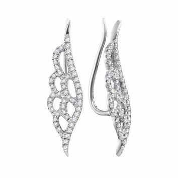 10kt White Gold Women's Round Diamond Winged Climber Earrings 1-3 Cttw - FREE Shipping (USA/CAN)