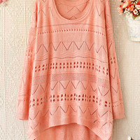 A 081903 aaa Loose round neck long-sleeved sweater hollow26