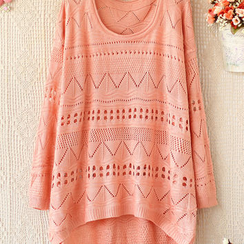 A 081903 Loose Round Neck Long-Sleeved Sweater Hollow26