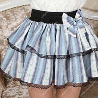 Crown Princess Sweet Little Sky Blue Striped Tutu Lolita Skirt