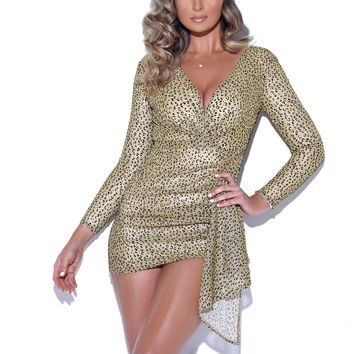 We Found Love Leopard Metallic Glitter Dress