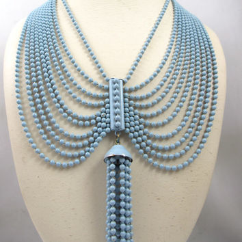 Art Deco Festoon Necklace, Blue Enamel Brass Beads Ten Strand Tassel 1930s Jewelry
