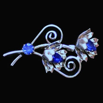Blue Sapphire Rhinestone Flower Brooch Pin In Silver Tone, Bridal Jewelry, Something Blue