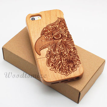 Natural Wood Engraved Eagle iPhone 5C case, iPhone 5S 5 case, Wood cover, Bamboo, Cherry, Sapele, Laser Engraving, FREE screen protector