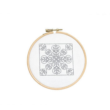 BlackWork Valentine Hearts Cross Stitch PDF Instant Download