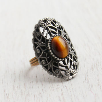 Vintage Tigers Eye Shield Ring - Adjustable Filigree Brass and Pewter Costume Jewelry / Metal Swirl