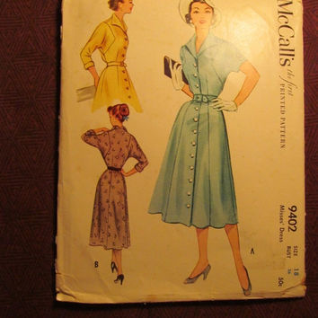 SALE Uncut 1950's McCall's Sewing Pattern, 9402! Size 18 Bust 36 Medium/Lrg/Women's/Misses/Fitted Bodice One Piece Button Up Front Dress/Col