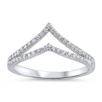 Sterling Silver CZ Simulated Diamond Double Tiara Ring 9MM