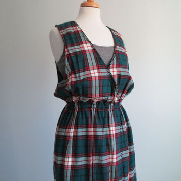 Vtg 90s EDDIE BAUER Plaid Flannel Sleeveless Jumper Dress w/ Elastic Waist Small \\ Medium WOODLAND Love Grunge Revival InDie FasHion