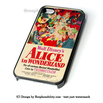 Vintage Disney Poster Alice In Wonderland iPhone 4 4S 5 5S 5C 6 6 Plus Case , iPod 4 5 Case  , Samsung Galaxy S3 S4 S5 Note 3 Note 4 Case , and HTC One X M7 M8 Case