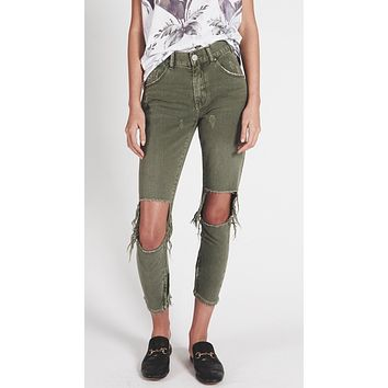 One Teaspoon High Waist Freebird Skinny Jeans Super Khaki