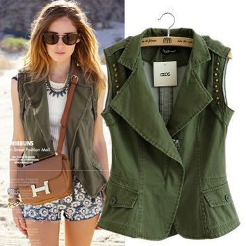 Vest Rivet Patchwork Sleeveless Jacket [5013150276]