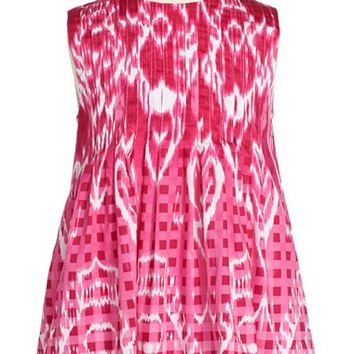Toddler Girl's Oscar de la Renta Gingham & Ikat Print Sleeveless Dress