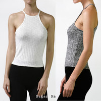 Sexy Spaghetti Strap Racer Front & Back Two Tone Ribbed Jersey Halter Crop Top