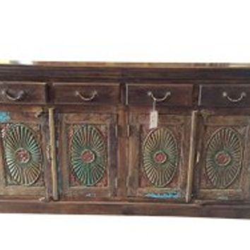 Chakra Sideboard Buffets Media Console Dresser Vintage Reclaimed Teak Wood Shabby Chic Brown Chest | Mogul Interior