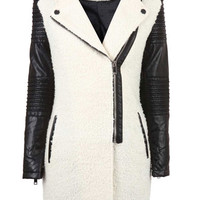 Cream Boucle and Pu Sleeve Biker Coat at Fashion Union