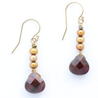 Garnet Briolette and Gold Freshwater Pearl Dangle Earrings on Gold Filled French Wires, Garnet Earrings, Gold Filled French Wires, Bridal