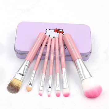 Mini Makeup brushes Set Hello Kitty Pink powder cosmetics kit eyeshadow make up brushes beauty tools with Metal box