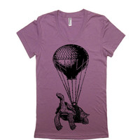 Women's Flying Turtle T Shirt - American Apparel 50/50 Poly Cotton - S M L XL (20 Color Options)