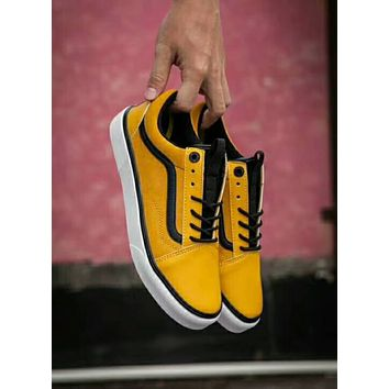 Vans x The North Face Old Skool Popular Women Men Leisure Flats Sport Sneakers Shoes Yellow I-CSXY
