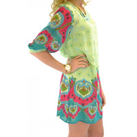 Dew Drop Paisley Print Lime Dress