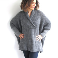 Plus Size Hand Knitted Sweater - Grey - Poncho - Tunic - Dress by Afra
