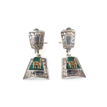 Sterling Earrings, Sterling Silver, Southwestern, Turquoise Stone, Horse Llama, Dangle Earrings, Aztec, Vintage Earrings, Vintage Jewelry