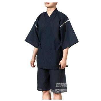 2017 Men Summer Kimono Bath robe with shorts Traditional Japanese Cotton Pajamas Suit Vintage Men Home dressing gown 062510