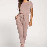 Taupe Back Cross Strap Knit Jumpsuit