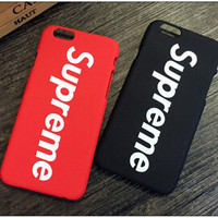Brand Fashion Luxury Logo Supreme Red Black Matte Plastic Hard Phone Case Cover Coque Fundas Capa for iphone 5 5s 6 6s 6 plus #