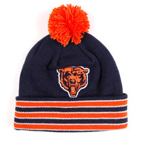 Caps - Knit - Mitchell and Ness Striped Cuff Knit Beanie with Pom - Chicago Bears - DTLR - Down Town Locker Room. Your Fashion, Your Lifestyle! Shop Sneakers, Boots, Basketball shoes and more from Nike, Jordan, Timberland and New Balance