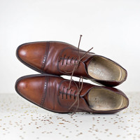 vintage Ferragamo mens dress shoes 11 / brown leather cap toe oxfords