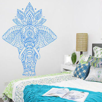 Wall Decal Elephant Murals Indian Pattern Yoga Mandala Tribal Buddha Ganesh C26