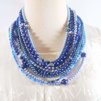 Multi Strand Shades of Blue Glass Pearls Necklace