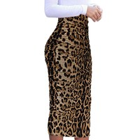 Chic Ruched Leopard High Waist Professional Business Pencil Skirt