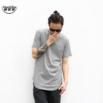 Man Si Tun 2017Summer Solid Color Curved Hem Long Line Camouflage Hip Hop Tshirt Elong Plain Kanye Tee Shirts Men's T-shirt