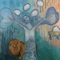 Oil Painting - Abundance Art Spiritual Painting of Lion, Cat and Tree