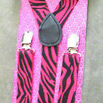 Black Adjustable Bow tie & Red Black Leopard Animal Print Suspenders Combo-New!