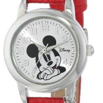 Disney Womens MK1042 Mickey Mouse Watch with Red Leather Band
