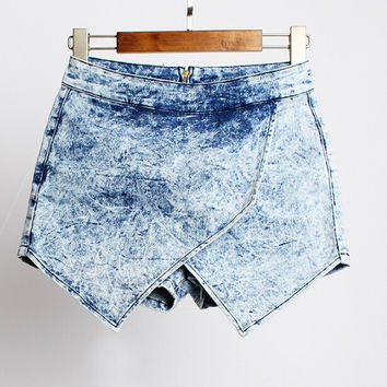 ♡ Washed Denim Asymmetrical Shorts ♡