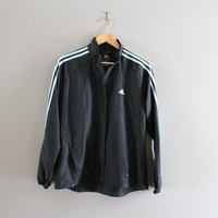 Adidas Windbreaker Black 3 Stripes Light Weight Water-proof Shell Adidas Zip Up Jacket 90s Vintage Unisex Minimalist Size Women's L Men's M