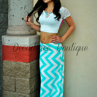 UPRIGHT MINT CHEVRON MAXI SKIRT